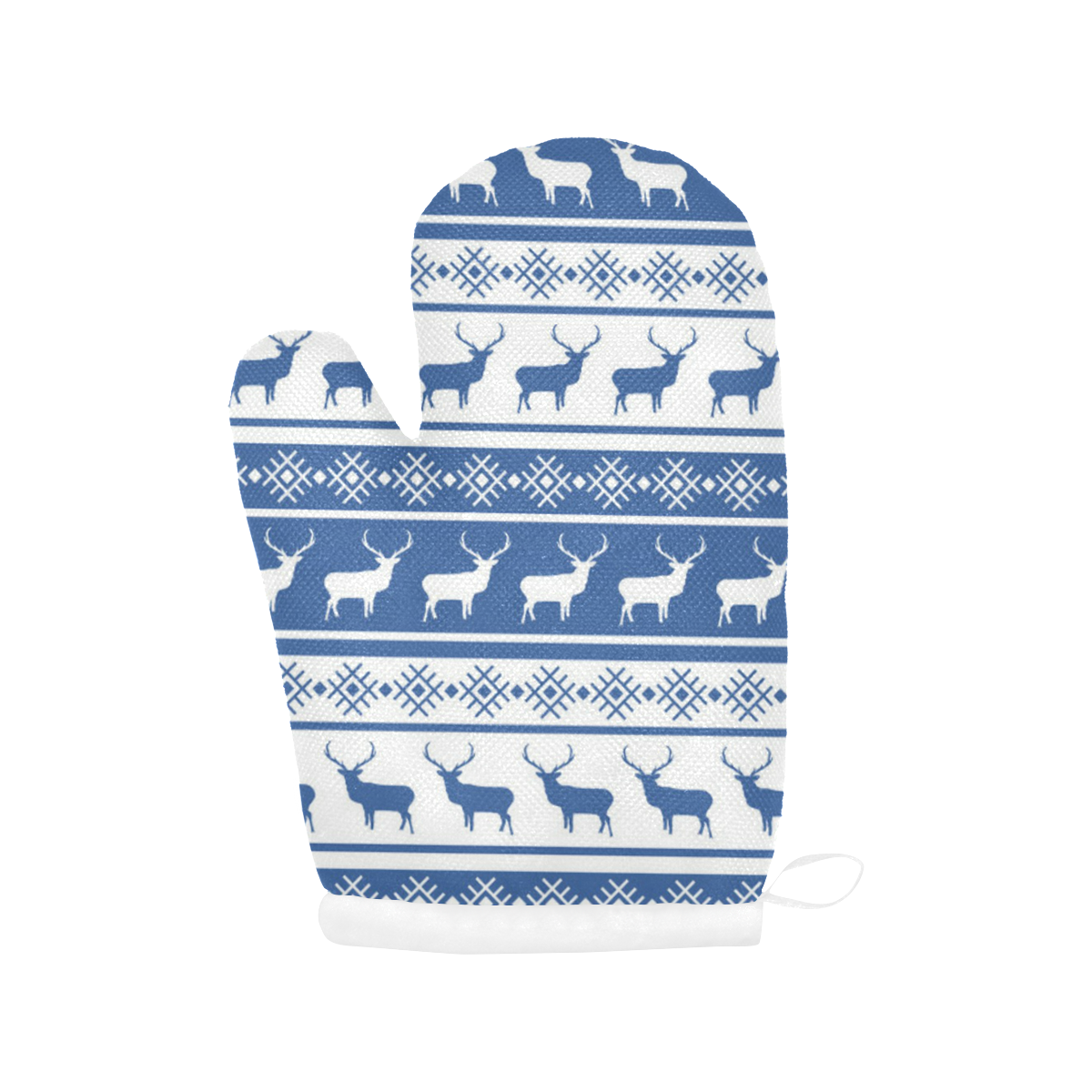 Christmas Deer Oven Mitts - Blue Oven Mitt (Two Pieces)