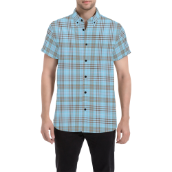 Parking Garage Plaid in Blue (even pattern) Men's All Over Print Short Sleeve Shirt (Model T53)