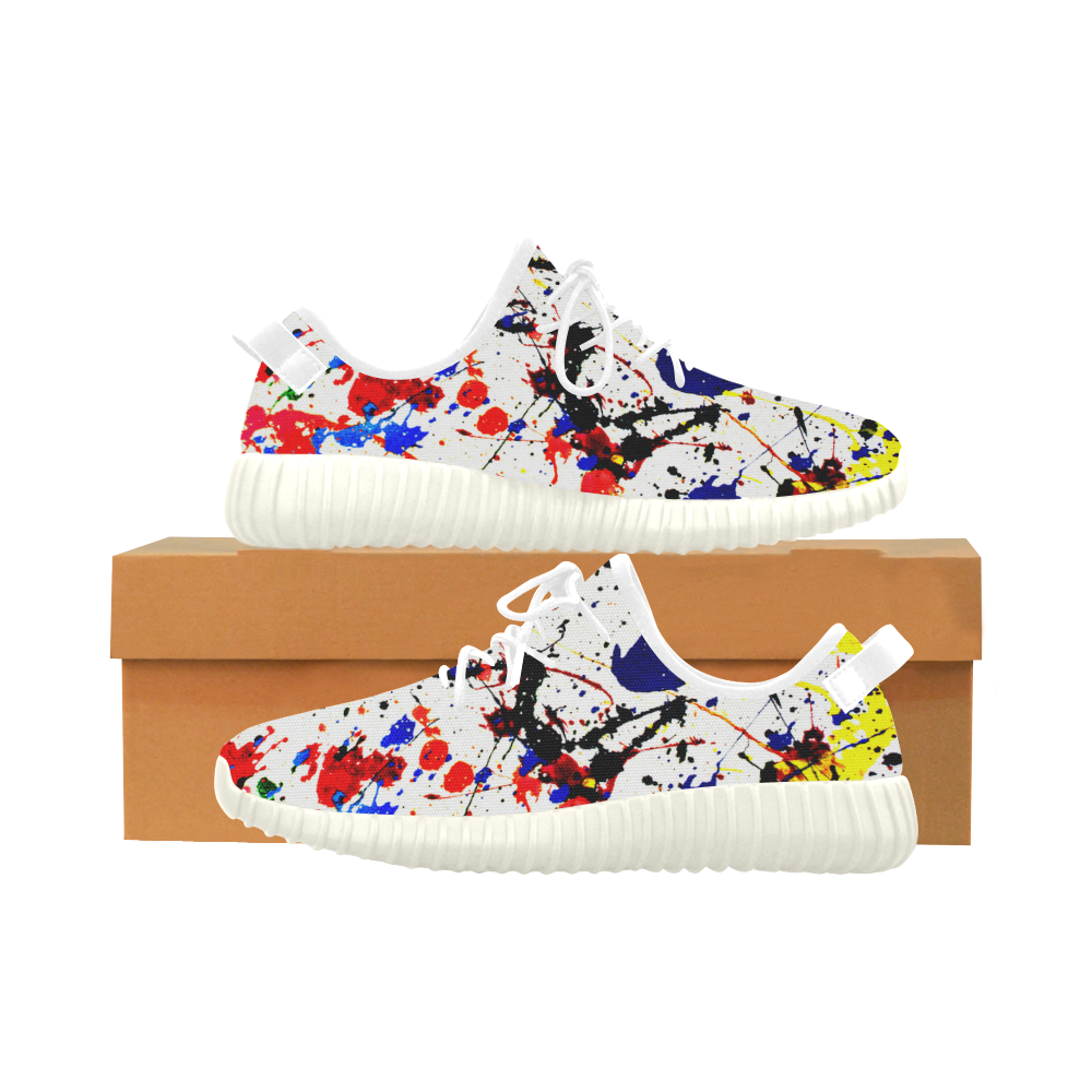 Blue & Red Paint Splatter - White Laces Grus Women's Breathable Woven Running Shoes (Model 022)