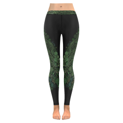 3D Psychedelic Abstract Fantasy Tree Greenery New Low Rise Leggings (Flatlock Stitch) (Model L07)
