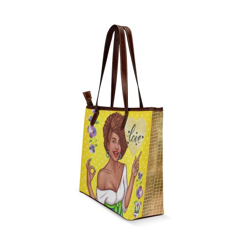 Fairlings Delight's Pop Art Collection- Love 53086 Shoulder Tote Bag (Model 1646)