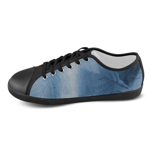 blue leaf shoes Canvas Shoes for Women/Large Size (Model 016)