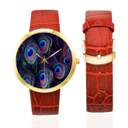 Peacock Feather Women's Golden Leather Strap Watch(Model 212)