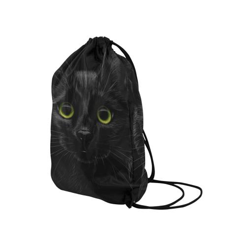 "Black Cat Medium Drawstring Bag Model 1604 (Twin Sides) 13.8""(W) * 18.1""(H)"