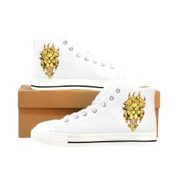 Gold Metallic Lion White Men's Classic High Top Canvas Shoes /Large Size (Model 017)