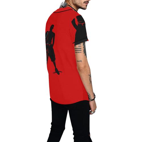 Aziatic Black & Red All Over Print Baseball Jersey for Men (Model T50)