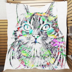 "AnimalArtStudio The CAT by JamColors Quilt 70""x80"""