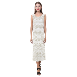 White 3D Geometric Pattern Phaedra Sleeveless Open Fork Long Dress (Model D08)