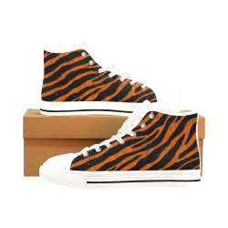 Ripped SpaceTime Stripes - Orange Men's Classic High Top Canvas Shoes /Large Size (Model 017)