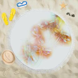 "Watercolor dragonflies Circular Beach Shawl 59""x 59"""