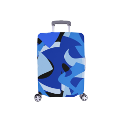 "Camouflage Abstract Blue and Black Luggage Cover/Small 18""-21"""