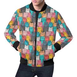 Cartoon Cat Pattern All Over Print Bomber Jacket for Men (Model H19)