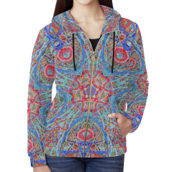 Thleudron Timeless All Over Print Full Zip Hoodie for Women (Model H14)
