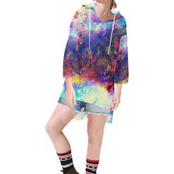 rainbow clouds Step Hem Tunic Hoodie for Women (Model H25)