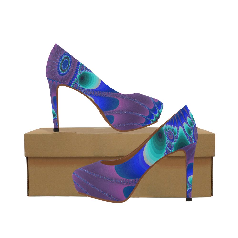 Indigo Sunflower Women's High Heels (Model 044)