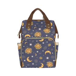 Vintage Celestial Pattern Multi-Function Diaper Backpack/Diaper Bag (Model 1688)