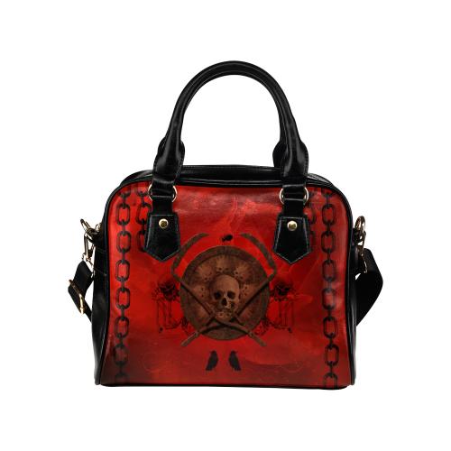 Skulls on red vintage background Shoulder Handbag (Model 1634)