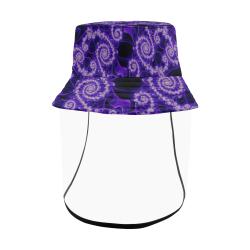 Delicate Purple Blue White Lace Fractal Abstract Women's Bucket Hat (Detachable Face Shield)