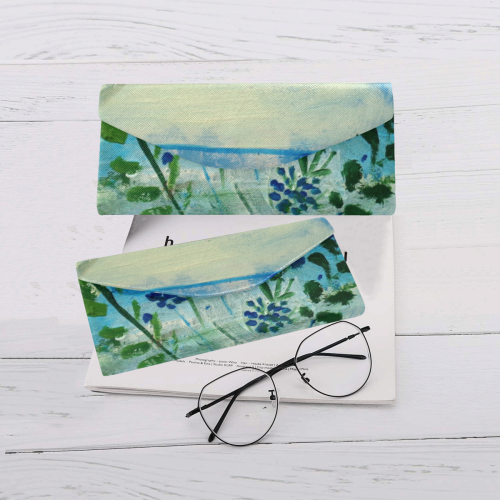 blue flowers floral painting by agnes laczo Custom Foldable Glasses Case