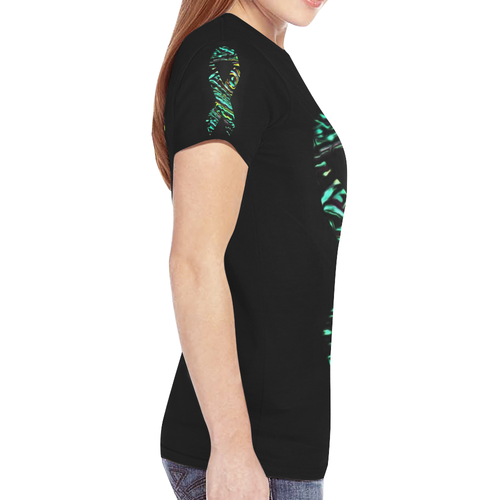 Womens Green yellow New All Over Print T-shirt for Women (Model T45)