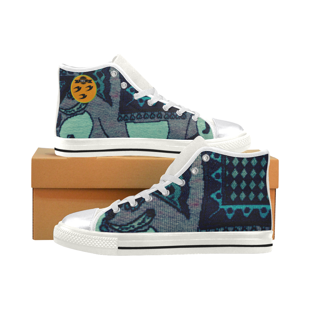 32 Elephant art for female Beautiful color Women's Classic High Top Canvas Shoes (Model 017)