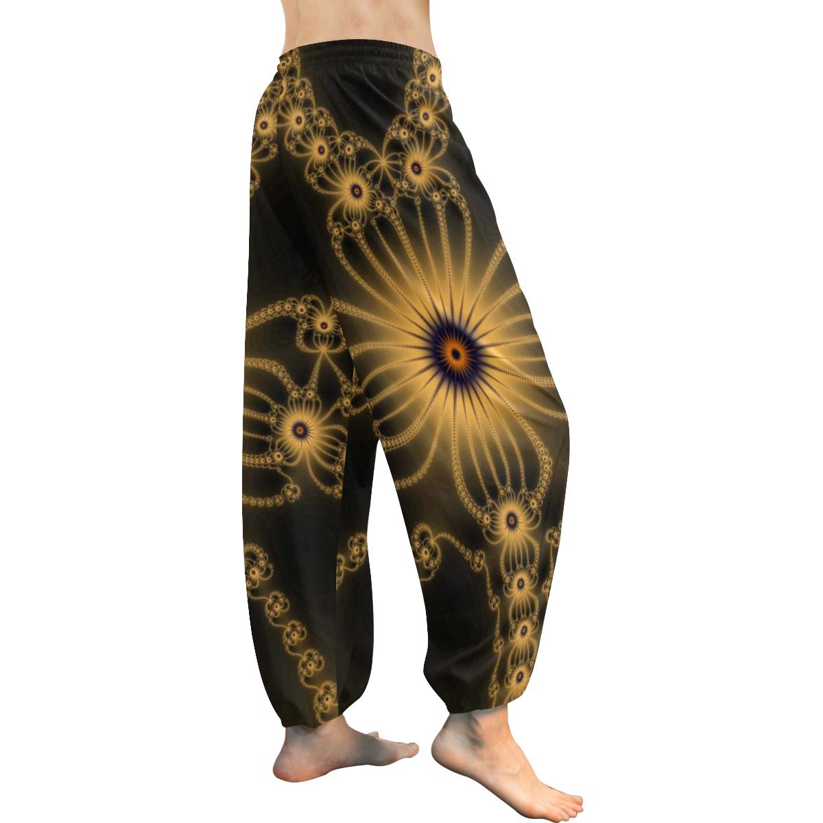 Orange Flower Bloom Women's All Over Print Harem Pants (Model L18)