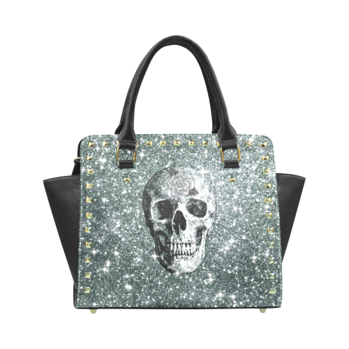 Modern sparkling Skull E by JamColors Rivet Shoulder Handbag (Model 1645)