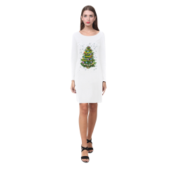 Snowflakes and Christmas Tree with Gift Demeter Long Sleeve Nightdress (Model D03)