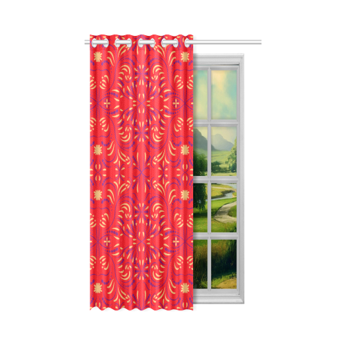 "Ethnic folk ornament New Window Curtain 50"" x 84""(One Piece)"