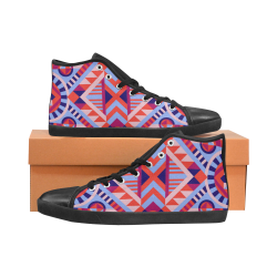 Modern Geometric Pattern High Top Canvas Kid's Shoes (Model 002)