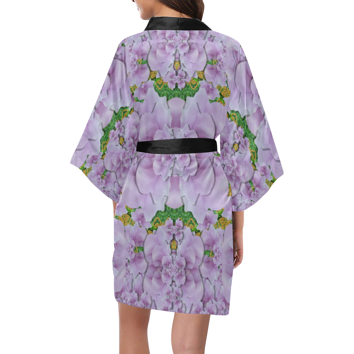 fauna flowers in gold and fern ornate Kimono Robe