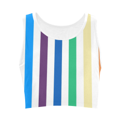 Rainbow Stripes with White Women's Crop Top (Model T42)
