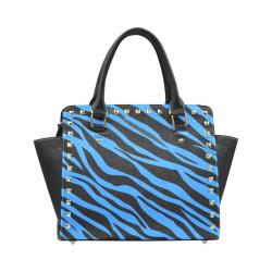 Cobalt Blue Zebra Stripes Rivet Shoulder Handbag (Model 1645)