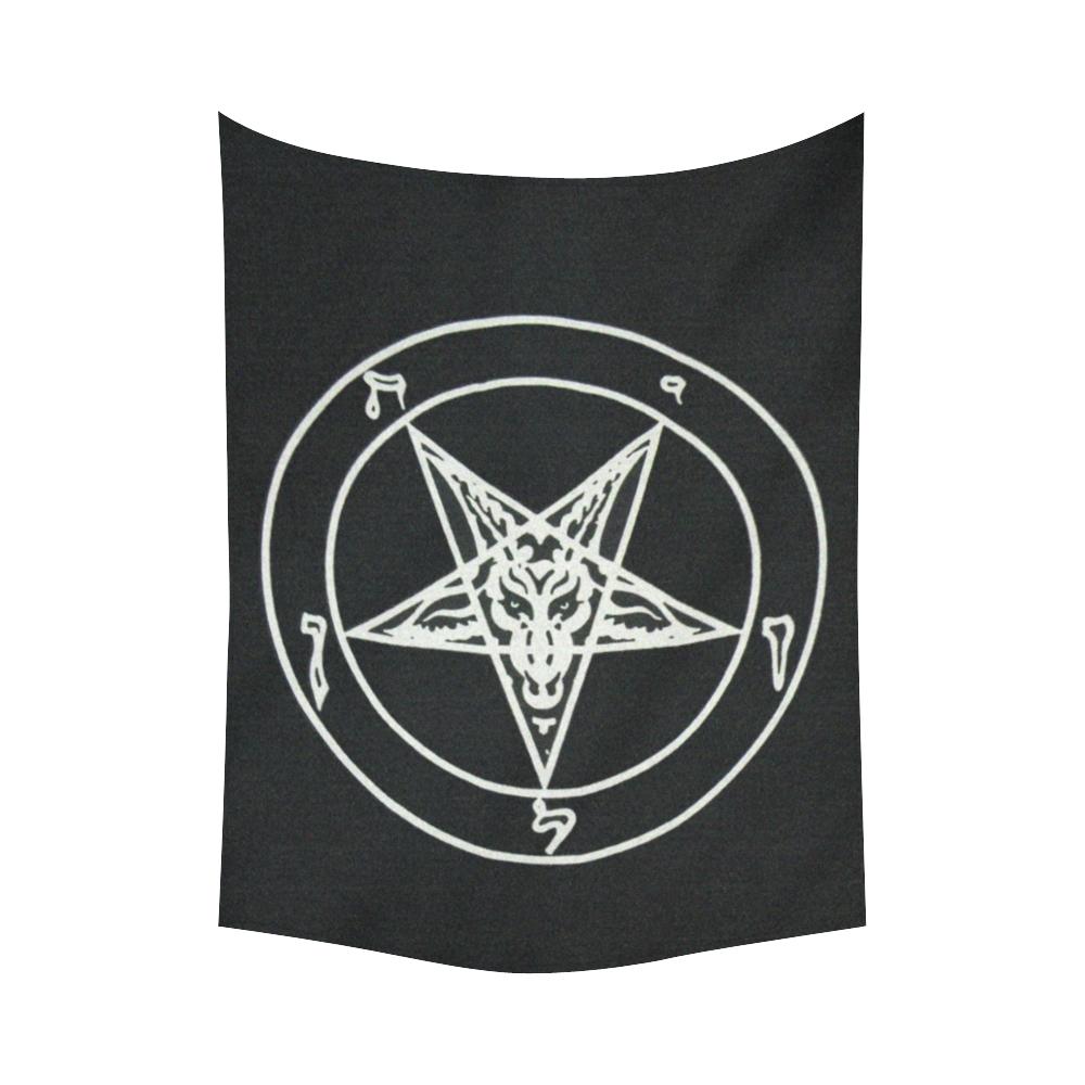 "Satanic Baphomet Reverse Star Black Light Altar Cloth Cotton Linen Wall Tapestry 60""x 80"""