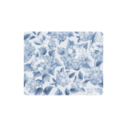 Blue and White Floral Pattern Rectangle Mousepad