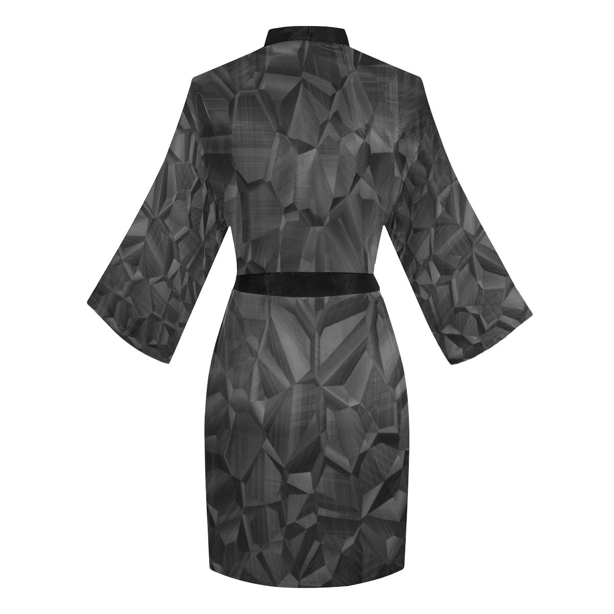 Black Satin Long Sleeve Kimono Robe