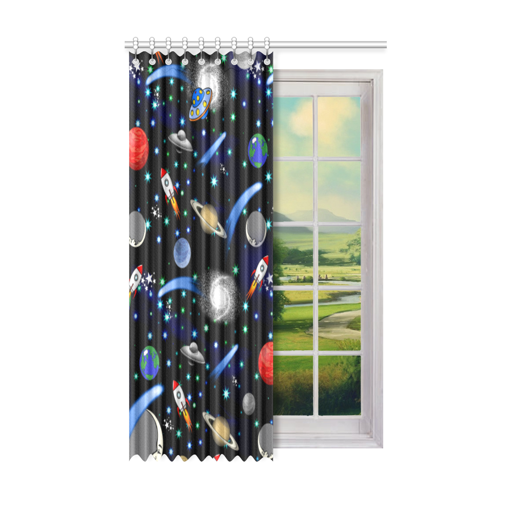 "Galaxy Universe - Planets,Stars,Comets,Rockets Window Curtain 52"" x 84""(One Piece)"