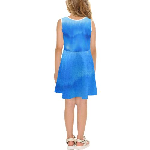 Shades of Blue - Blue Gradient Girls' Sleeveless Sundress (Model D56)