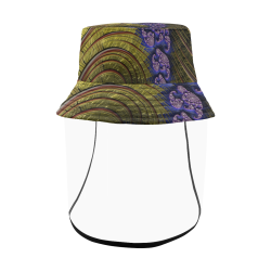 Gold Ocean Currents Blue Coral Fractal Abstract Women's Bucket Hat (Detachable Face Shield)