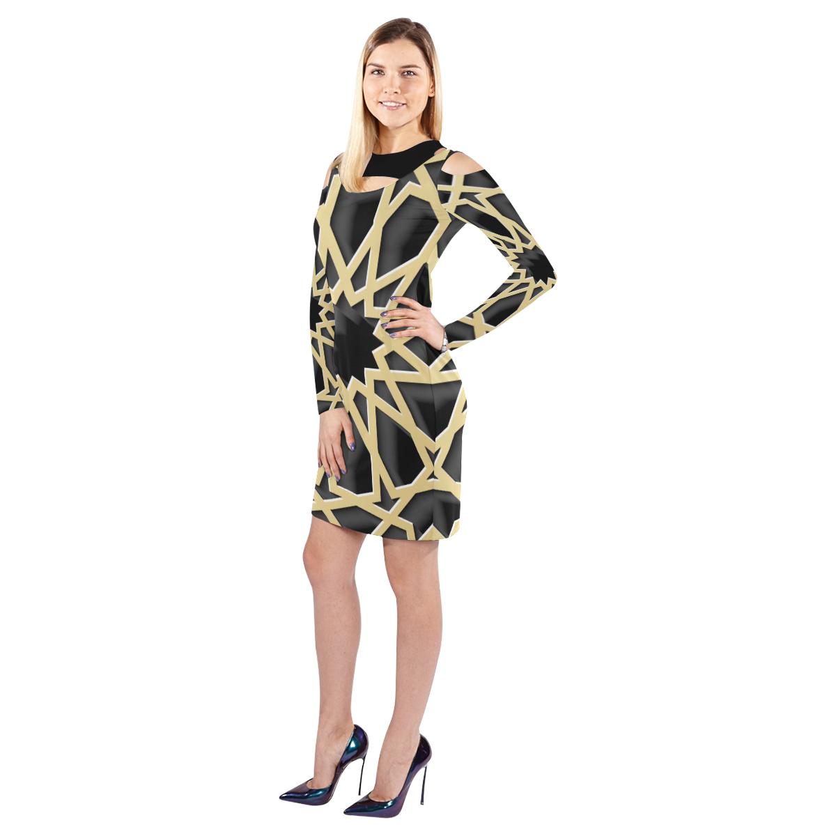 Gold Web  Cold Shoulder Dress Cold Shoulder Long Sleeve Dress (Model D37)