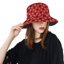 Red Hearts Love Pattern All Over Print Bucket Hat