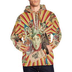 Funny Vintage Circus Clowns All Over Print Hoodie for Men (USA Size) (Model H13)