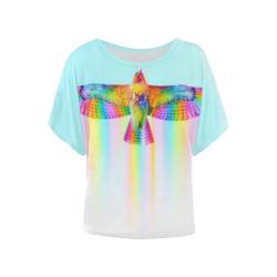 Rainbow Eagle Women's Batwing-Sleeved Blouse T shirt (Model T44)