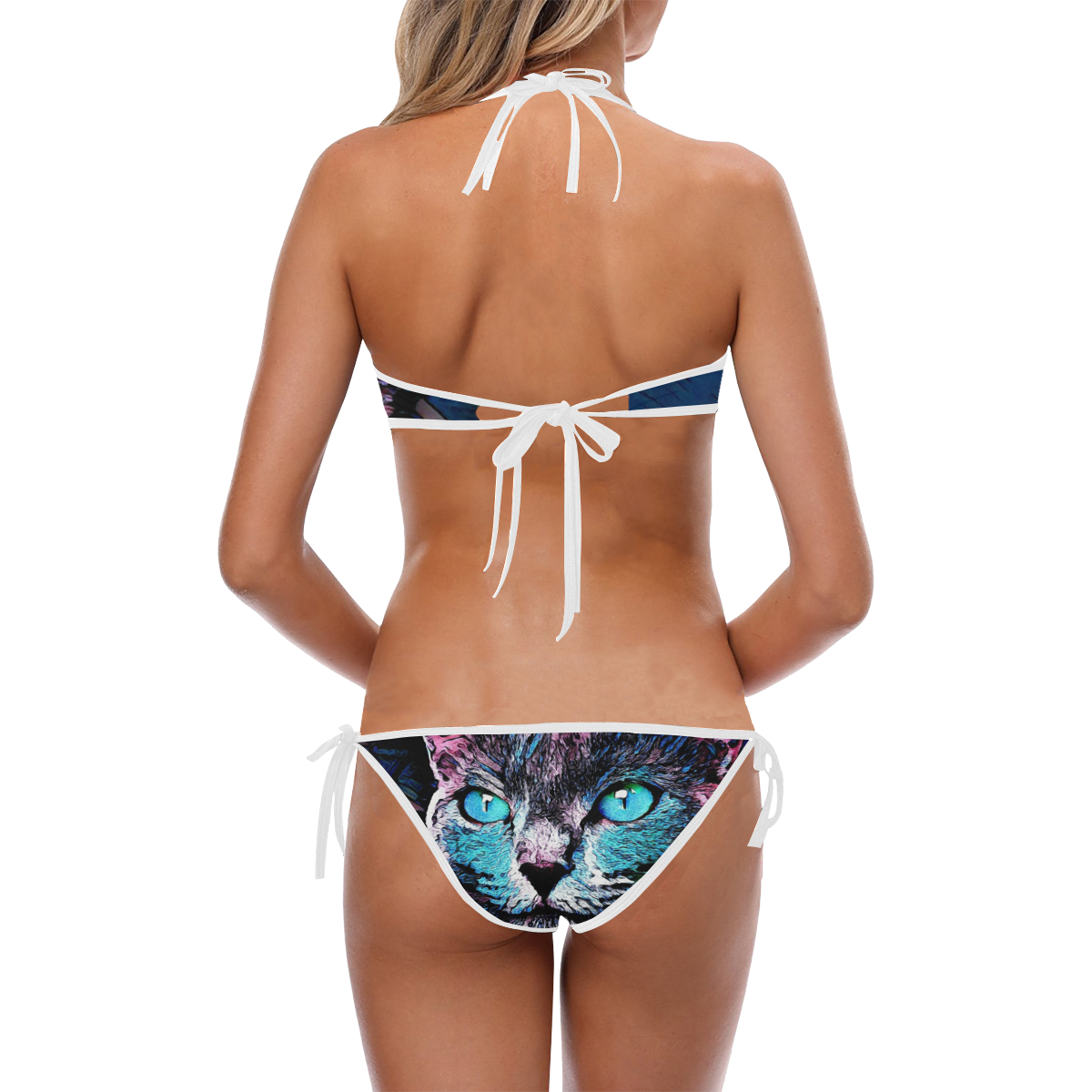 CAT ART BLANC Custom Halter & Side Tie Bikini Swimsuit (Model S06)