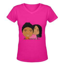 MyNaturalis_Pink Tee Women Women's Deep V-neck T-shirt (Model T19)