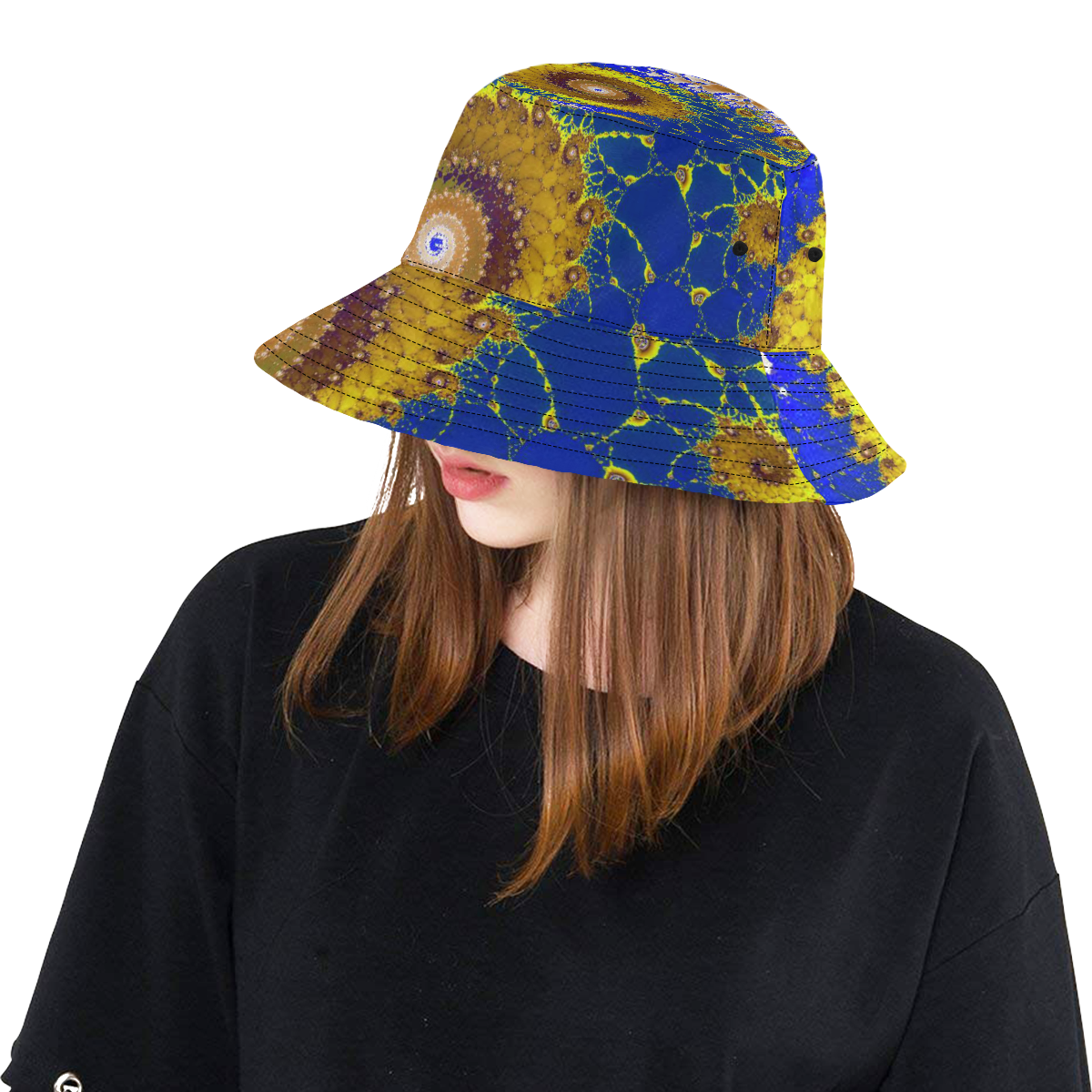 Lapis Glass Flower Spiral All Over Print Bucket Hat
