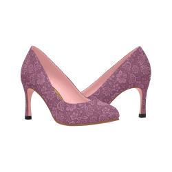 Purple Damask Women's High Heels (Model 048)