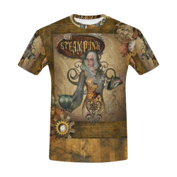 Steampunk lady with owl All Over Print T-Shirt for Men (USA Size) (Model T40)