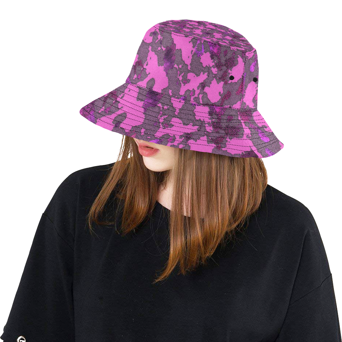PINK CAMOUFLAGE LADYLIKE All Over Print Bucket Hat