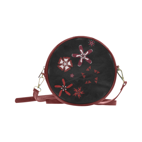 Black, red and white Abstract #17 Round Sling Bag (Model 1647)